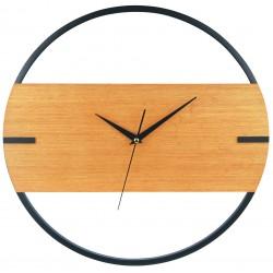zegar śc.DESIGN,śred.40X3,5cm,kol.czar+drewno-MC