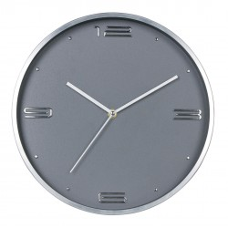 zegar ścienny ESTILO,śred..30X4cm,kol.SREBRNY-MC