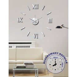 Zegar naklejany STICKER ROMER, śr.60cm,kol.sre-MC