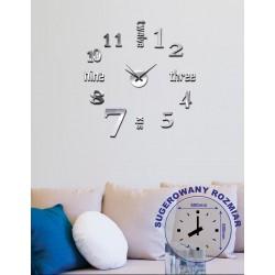 Zegar naklejany STICKER SEVEN,śr.60cm,k.srebrny-MC