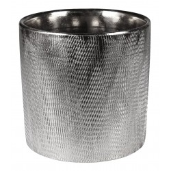Osłonka HUGO ceramiczna,13,5x13,5x13cm,SREBRNA