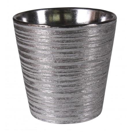 Osłonka LARS ceramiczna,12,5x12,5x11,5cm,SREBRNA