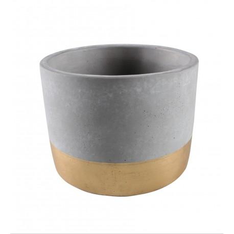 Osłonka ENAR cementowa,14x14x11cm,SZARY+ZŁ PASEK