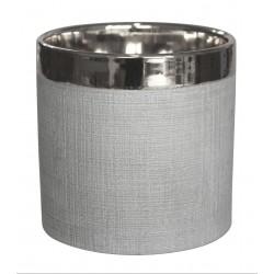 Osłonka STEN ceramiczna,13,5x13,5x13cm,SREB. PASEK