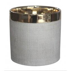 Osłonka STEN ceramiczna,13,5x13,5x13cm,ZŁOTY PASEK