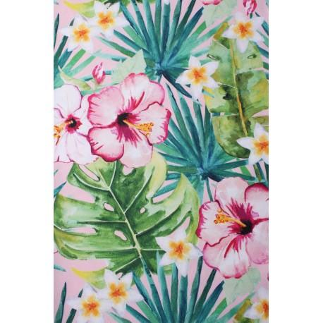 Tkanina zasłonowa HAWAJE, 160 cm, kol.zielono-różo